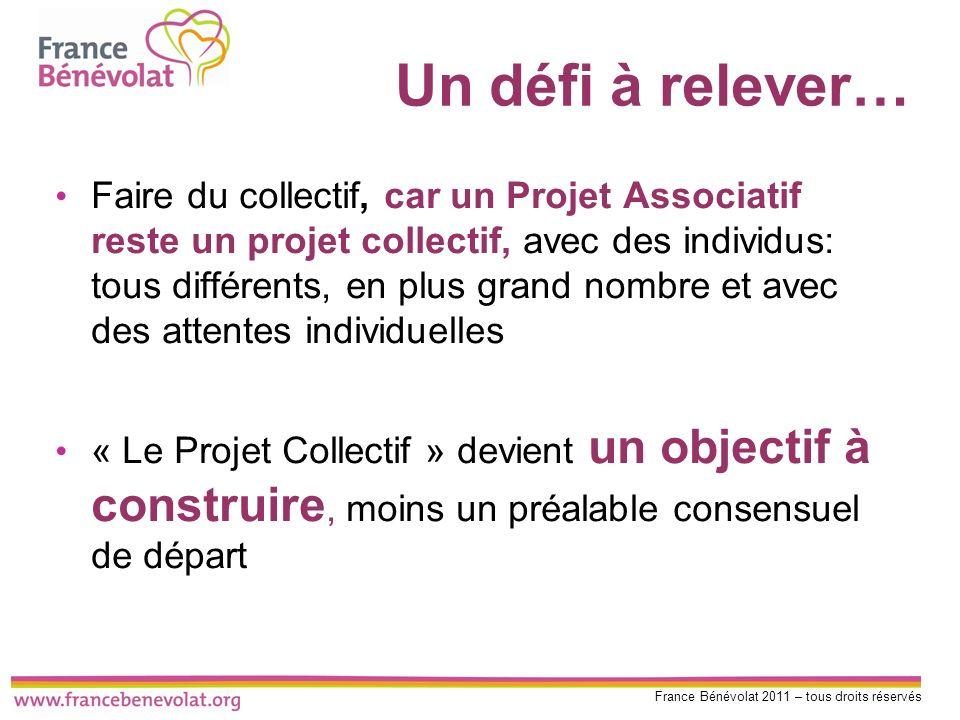 France Bénévolat 2011 – tous droits réservés Un défi à relever… Faire du collectif, car un Projet Associatif reste un projet collectif, avec des indiv