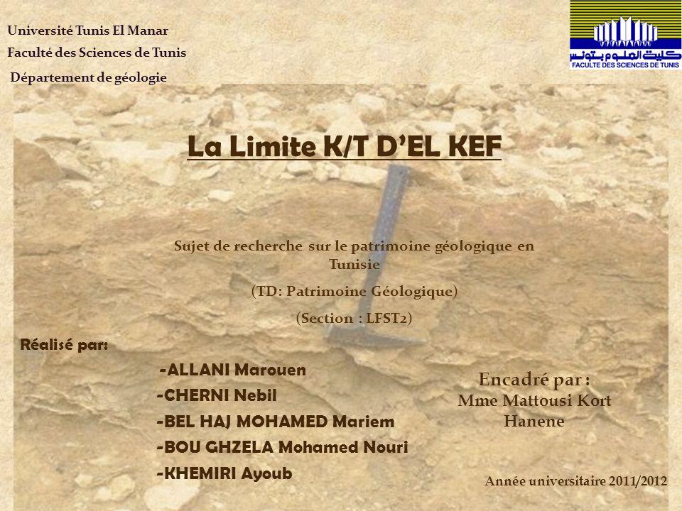 La Limite K/T DEL KEF Réalisé par: -ALLANI Marouen -CHERNI Nebil -BEL HAJ MOHAMED Mariem -BOU GHZELA Mohamed Nouri -KHEMIRI Ayoub Sujet de recherche s