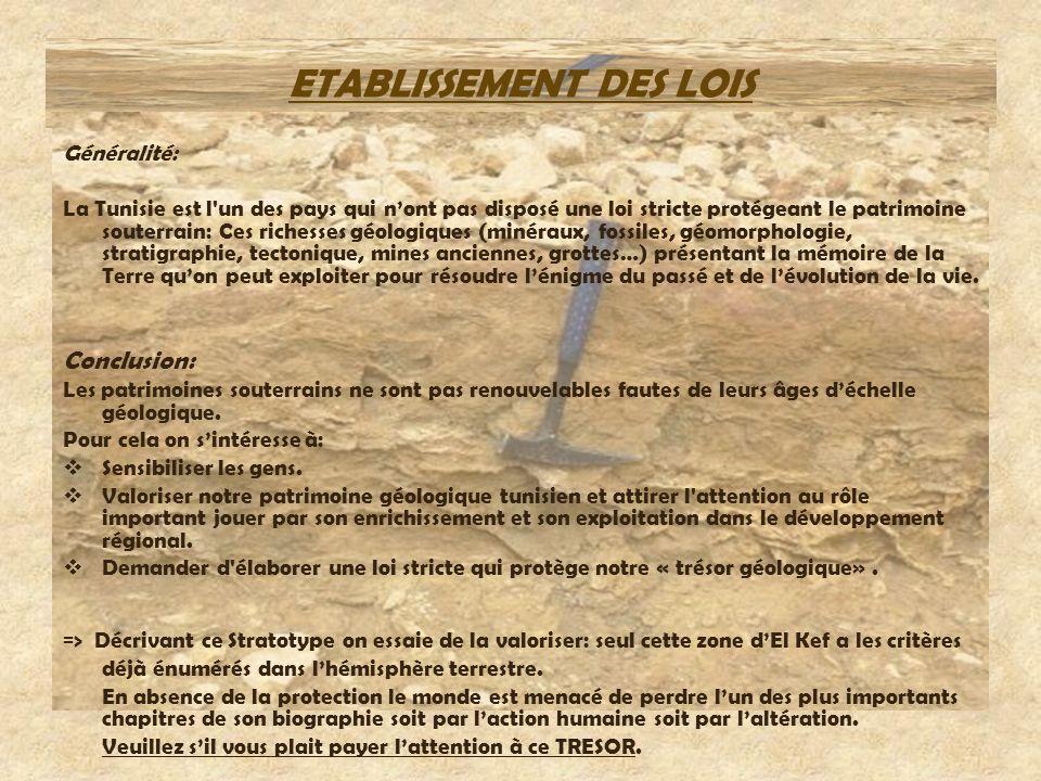 ETABLISSEMENT DES LOIS Généralité: La Tunisie est l'un des pays qui nont pas disposé une loi stricte protégeant le patrimoine souterrain: Ces richesse