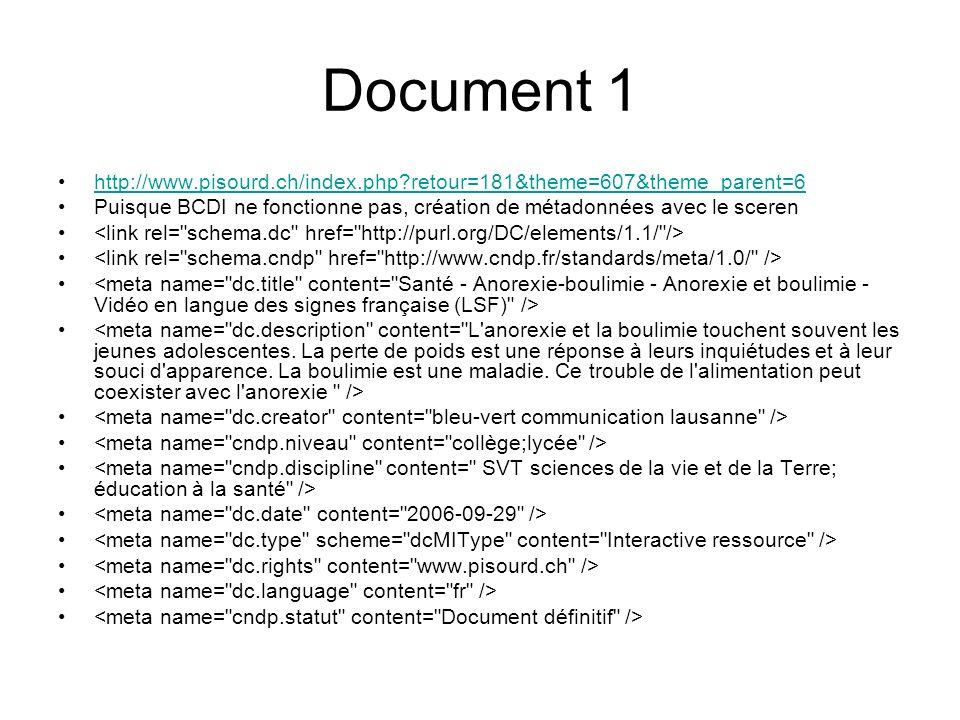 Document 1 http://www.pisourd.ch/index.php?retour=181&theme=607&theme_parent=6 Puisque BCDI ne fonctionne pas, création de métadonnées avec le sceren