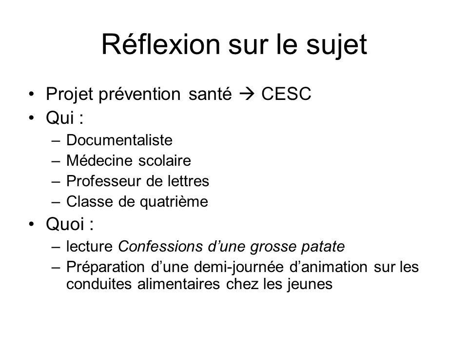 Réflexion sur le sujet Projet prévention santé CESC Qui : –Documentaliste –Médecine scolaire –Professeur de lettres –Classe de quatrième Quoi : –lectu