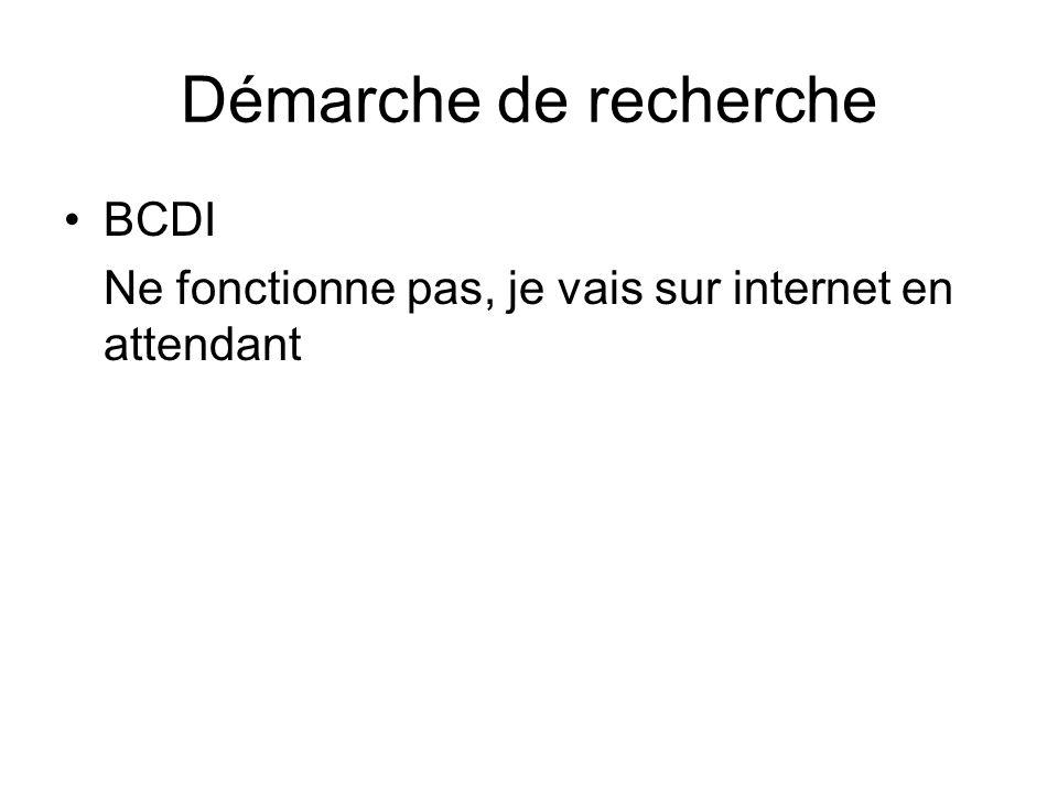 Démarche de recherche BCDI Ne fonctionne pas, je vais sur internet en attendant
