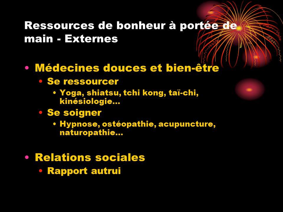 Ressources de bonheur à portée de main - Externes Médecines douces et bien-être Se ressourcer Yoga, shiatsu, tchi kong, taï-chi, kinésiologie… Se soigner Hypnose, ostéopathie, acupuncture, naturopathie… Relations sociales Rapport autrui