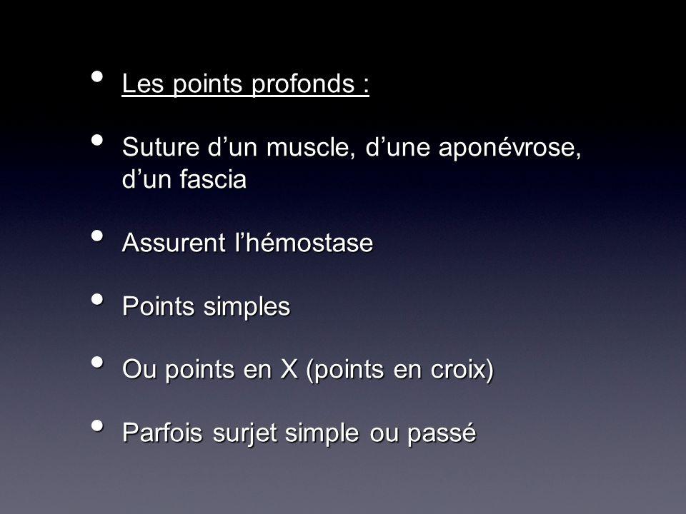 Les points profonds : Les points profonds : Suture dun muscle, dune aponévrose, dun fascia Suture dun muscle, dune aponévrose, dun fascia Assurent lhé