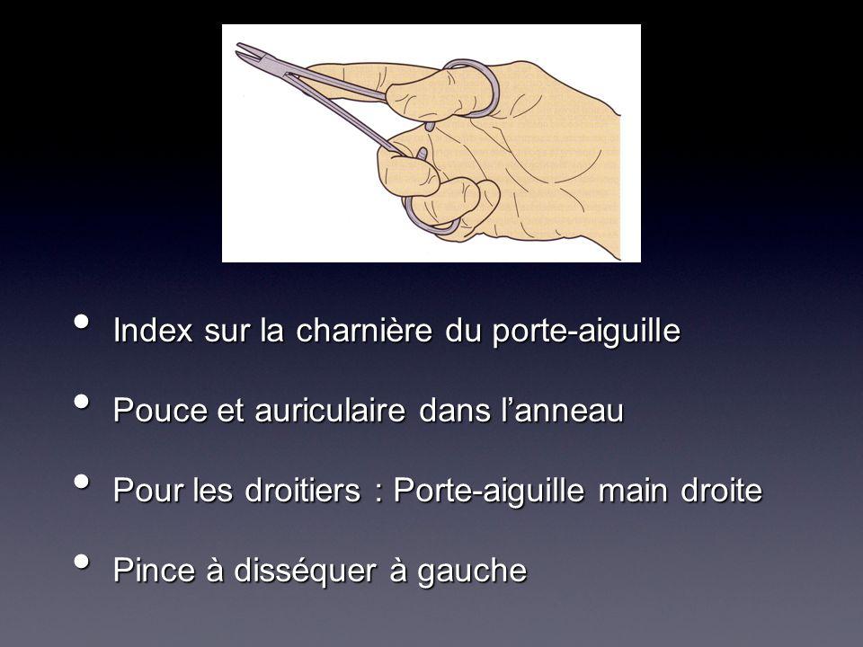 Index sur la charnière du porte-aiguille Index sur la charnière du porte-aiguille Pouce et auriculaire dans lanneau Pouce et auriculaire dans lanneau