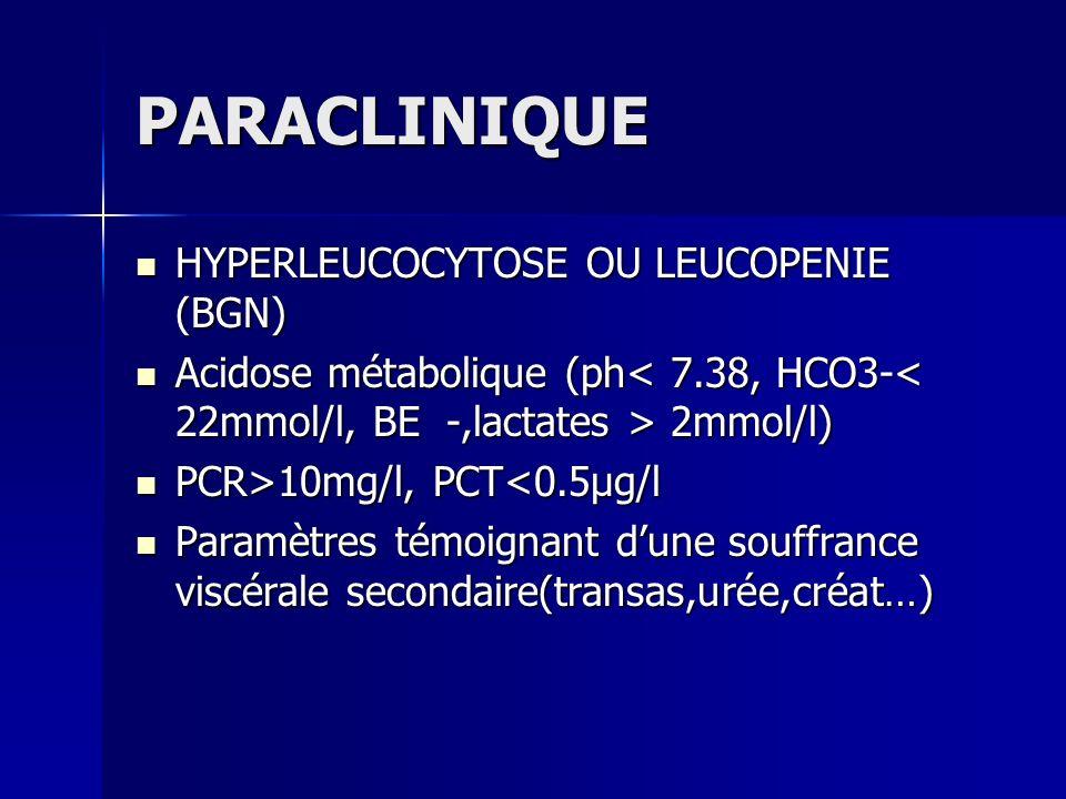 PARACLINIQUE HYPERLEUCOCYTOSE OU LEUCOPENIE (BGN) HYPERLEUCOCYTOSE OU LEUCOPENIE (BGN) Acidose métabolique (ph 2mmol/l) Acidose métabolique (ph 2mmol/