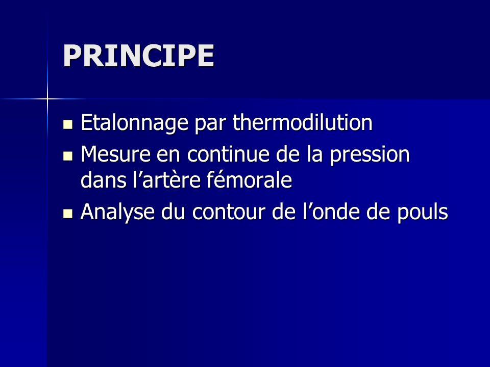 PRINCIPE Etalonnage par thermodilution Etalonnage par thermodilution Mesure en continue de la pression dans lartère fémorale Mesure en continue de la