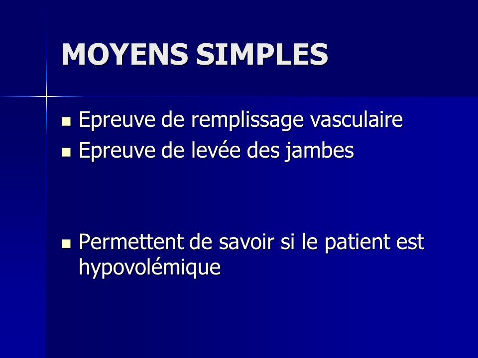 MOYENS SIMPLES Epreuve de remplissage vasculaire Epreuve de remplissage vasculaire Epreuve de levée des jambes Epreuve de levée des jambes Permettent