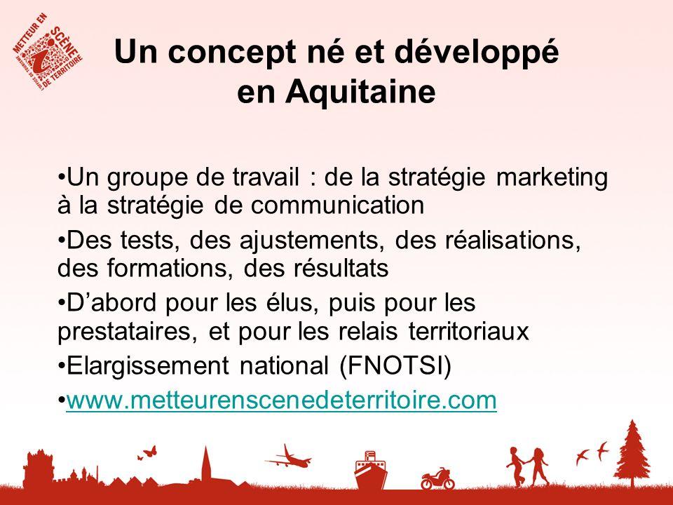 Un concept né et développé en Aquitaine Un groupe de travail : de la stratégie marketing à la stratégie de communication Des tests, des ajustements, d