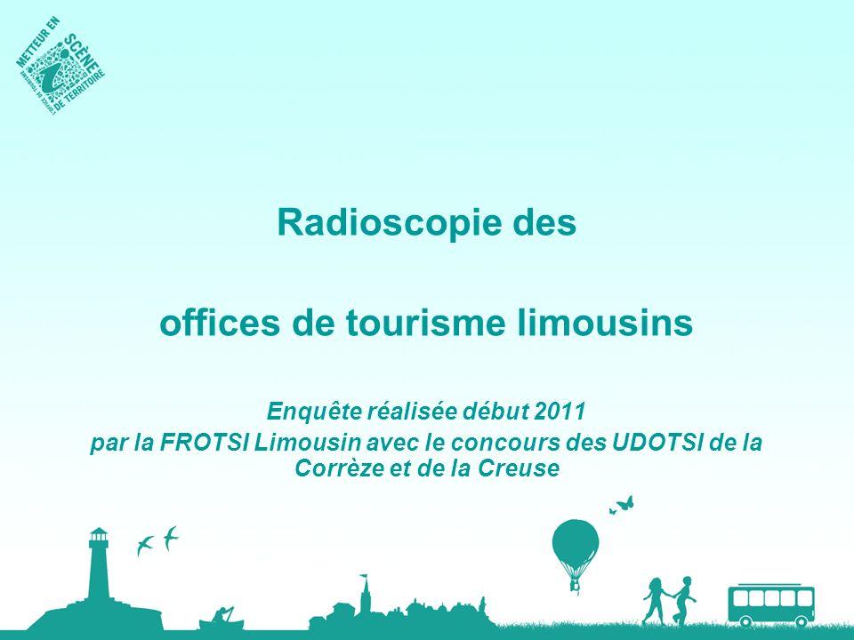 Radioscopie des offices de tourisme limousins Enquête réalisée début 2011 par la FROTSI Limousin avec le concours des UDOTSI de la Corrèze et de la Cr
