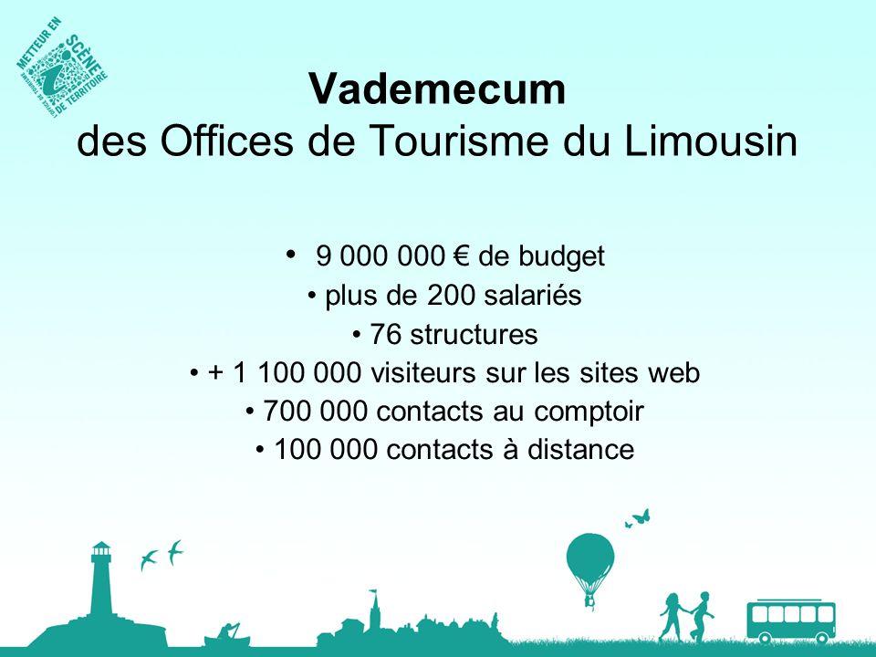 Vademecum des Offices de Tourisme du Limousin 9 000 000 de budget plus de 200 salariés 76 structures + 1 100 000 visiteurs sur les sites web 700 000 c