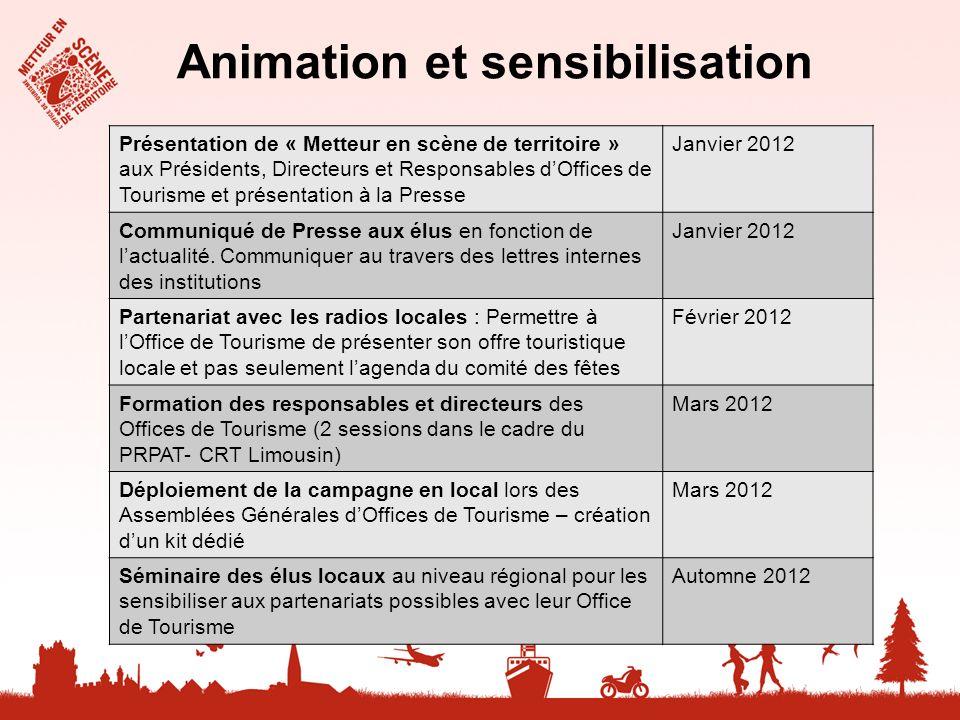 Animation et sensibilisation Présentation de « Metteur en scène de territoire » aux Présidents, Directeurs et Responsables dOffices de Tourisme et pré