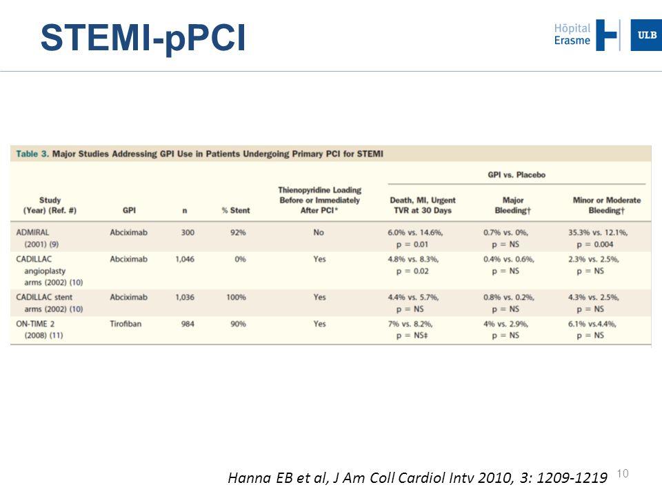 10 Hanna EB et al, J Am Coll Cardiol Intv 2010, 3: 1209-1219 STEMI-pPCI