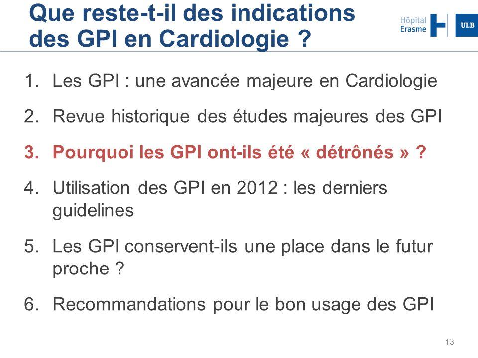 13 Que reste-t-il des indications des GPI en Cardiologie ? 1.Les GPI : une avancée majeure en Cardiologie 2.Revue historique des études majeures des G