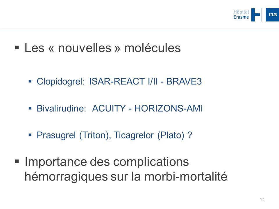 14 Les « nouvelles » molécules Clopidogrel: ISAR-REACT I/II - BRAVE3 Bivalirudine: ACUITY - HORIZONS-AMI Prasugrel (Triton), Ticagrelor (Plato) ? Impo
