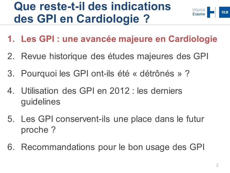 2 Que reste-t-il des indications des GPI en Cardiologie ? 1.Les GPI : une avancée majeure en Cardiologie 2.Revue historique des études majeures des GP
