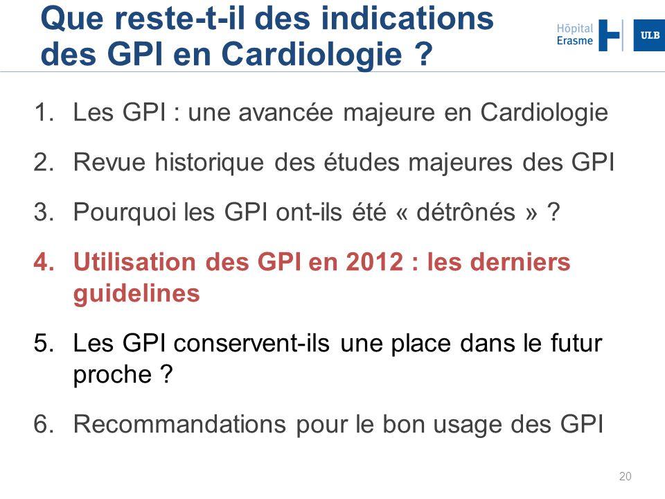 20 Que reste-t-il des indications des GPI en Cardiologie ? 1.Les GPI : une avancée majeure en Cardiologie 2.Revue historique des études majeures des G