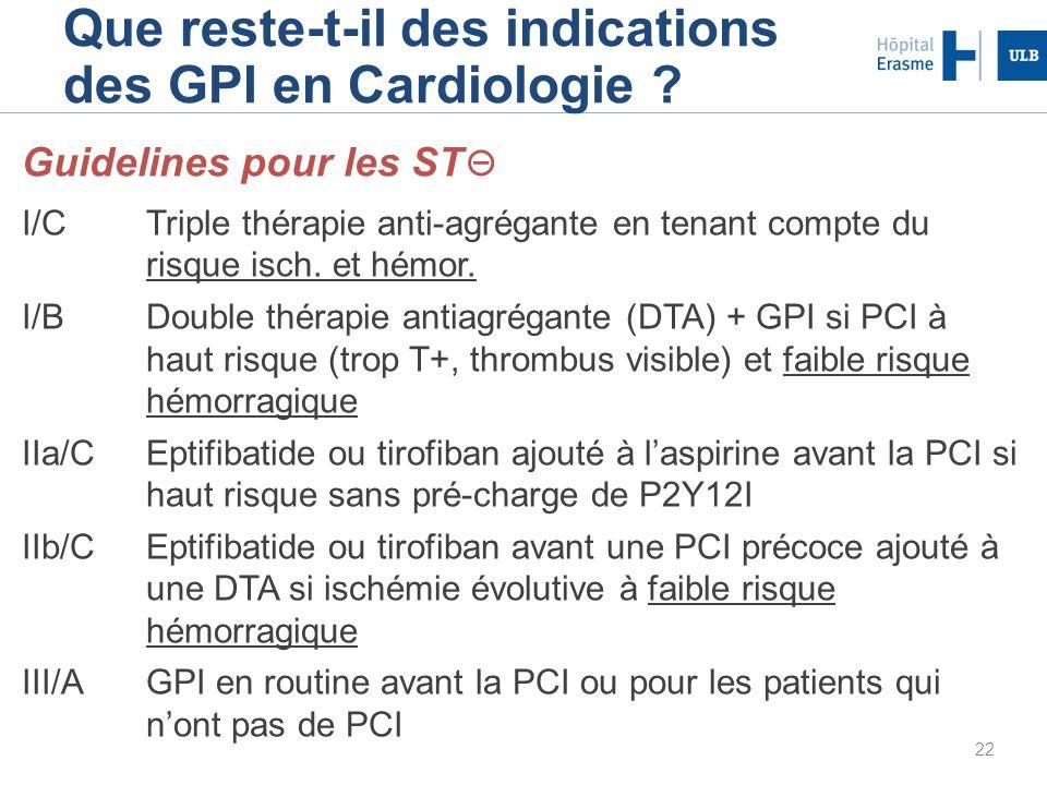 22 Que reste-t-il des indications des GPI en Cardiologie ? Guidelines pour les ST I/CTriple thérapie anti-agrégante en tenant compte du risque isch. e