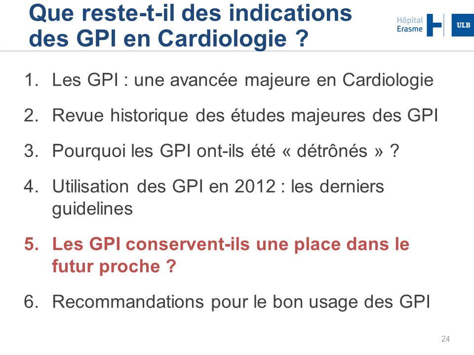 24 Que reste-t-il des indications des GPI en Cardiologie ? 1.Les GPI : une avancée majeure en Cardiologie 2.Revue historique des études majeures des G