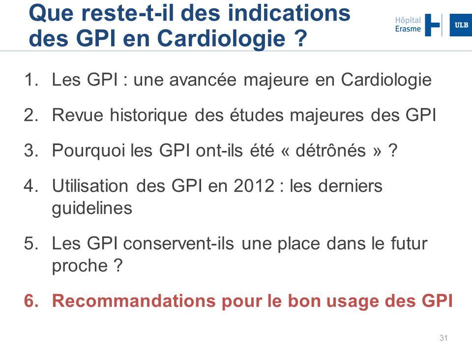 31 Que reste-t-il des indications des GPI en Cardiologie ? 1.Les GPI : une avancée majeure en Cardiologie 2.Revue historique des études majeures des G