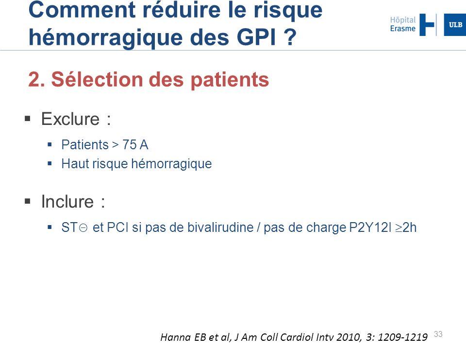 33 Comment réduire le risque hémorragique des GPI ? 2. Sélection des patients Exclure : Patients > 75 A Haut risque hémorragique Inclure : ST et PCI s
