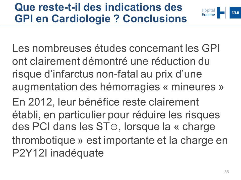 36 Les nombreuses études concernant les GPI ont clairement démontré une réduction du risque dinfarctus non-fatal au prix dune augmentation des hémorra