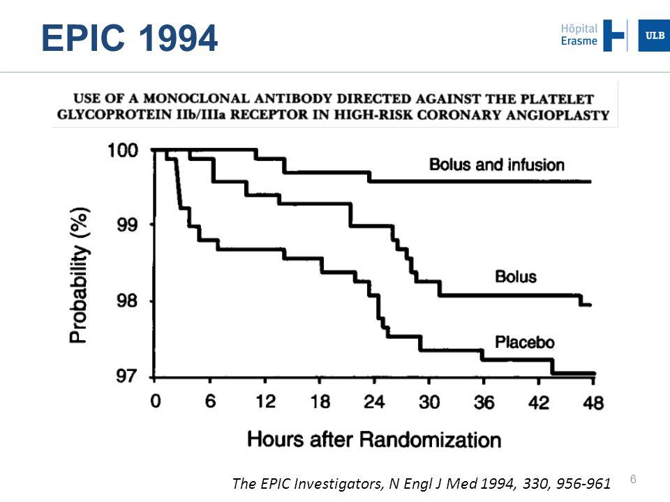 17 Viswanathan G et al, J Interven Cardiol 2009, 22, 163-168 ISAR-REACT et utilisation des GPI