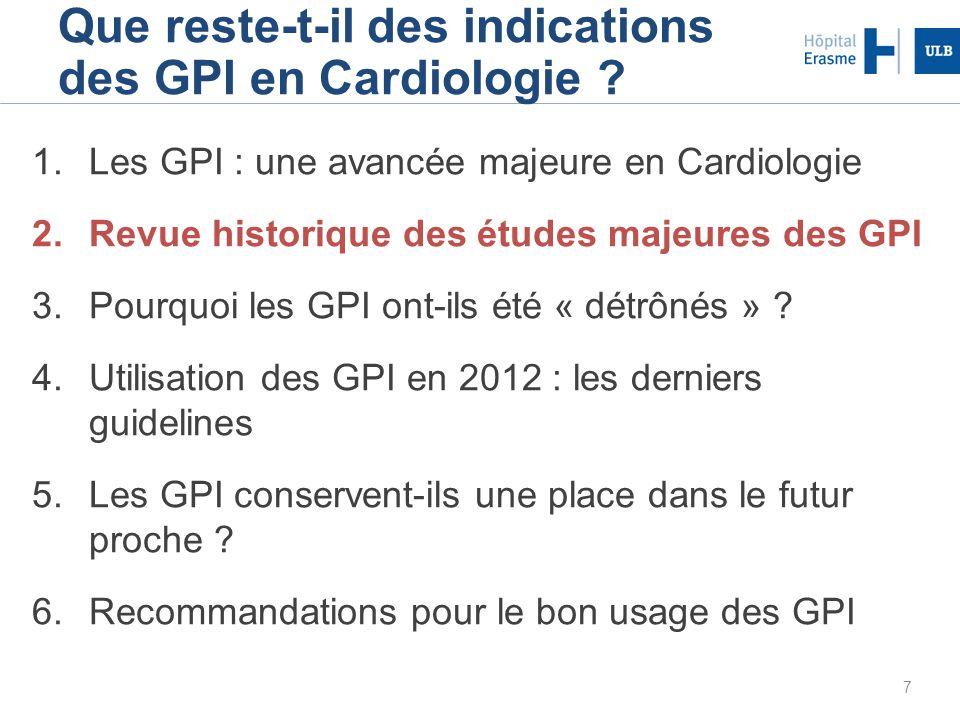 7 Que reste-t-il des indications des GPI en Cardiologie ? 1.Les GPI : une avancée majeure en Cardiologie 2.Revue historique des études majeures des GP