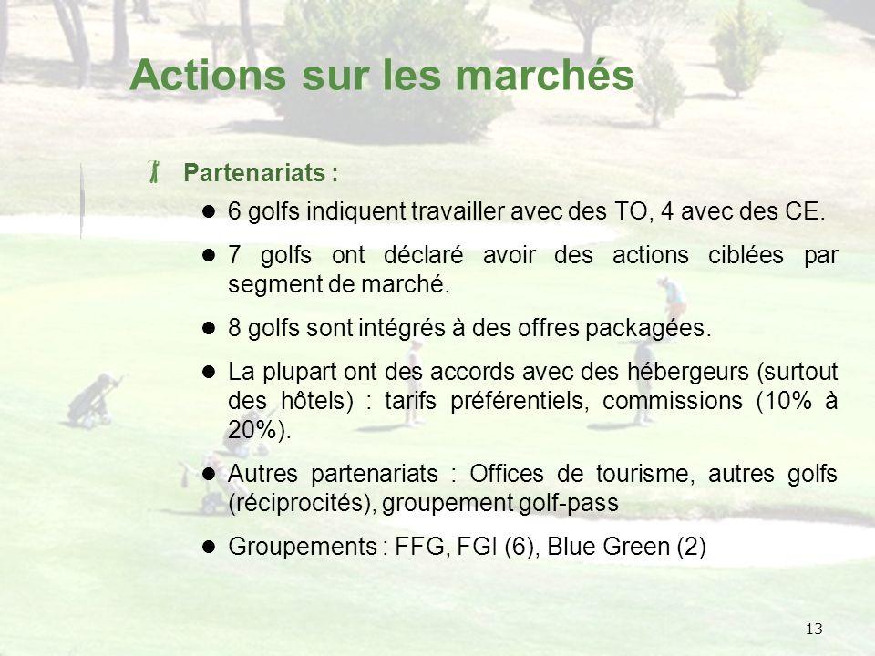 13 Actions sur les marchés Partenariats : 6 golfs indiquent travailler avec des TO, 4 avec des CE.