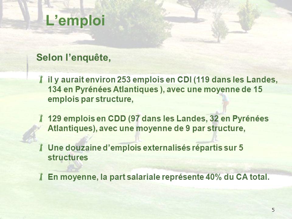 5 Lemploi Selon lenquête, il y aurait environ 253 emplois en CDI (119 dans les Landes, 134 en Pyrénées Atlantiques ), avec une moyenne de 15 emplois par structure, 129 emplois en CDD (97 dans les Landes, 32 en Pyrénées Atlantiques), avec une moyenne de 9 par structure, Une douzaine demplois externalisés répartis sur 5 structures En moyenne, la part salariale représente 40% du CA total.