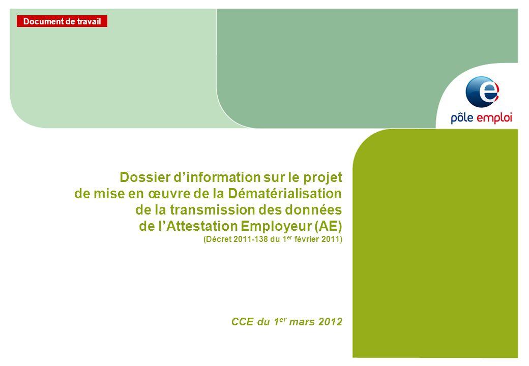 Document de travail Dossier dinformation sur le projet de mise en œuvre de la Dématérialisation de la transmission des données de lAttestation Employe