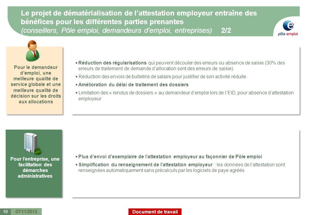 Document de travail Le projet de dématérialisation de lattestation employeur entraîne des bénéfices pour les différentes parties prenantes (conseiller