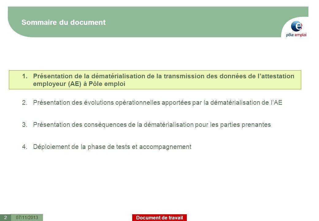 Document de travail Sommaire du document 07/11/20132 1.Présentation de la dématérialisation de la transmission des données de lattestation employeur (