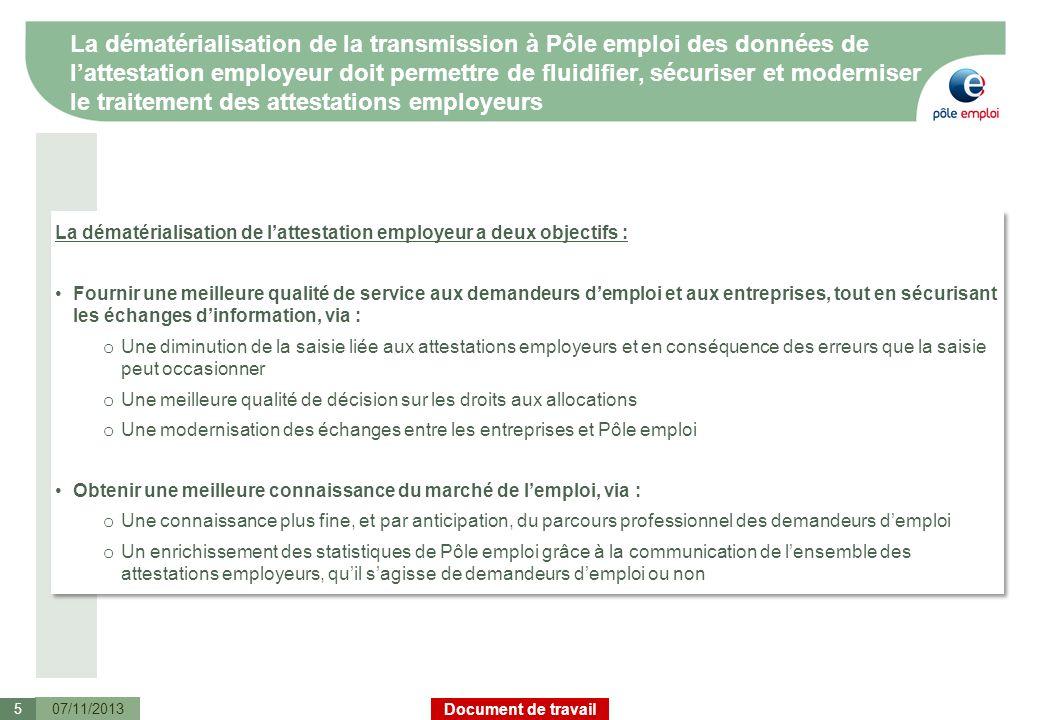 Document de travail La dématérialisation de la transmission à Pôle emploi des données de lattestation employeur doit permettre de fluidifier, sécurise