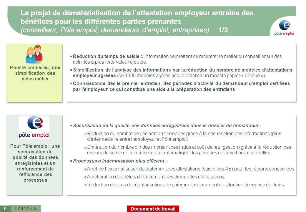 Document de travail Le projet de dématérialisation de lattestation employeur entraine des bénéfices pour les différentes parties prenantes (conseiller