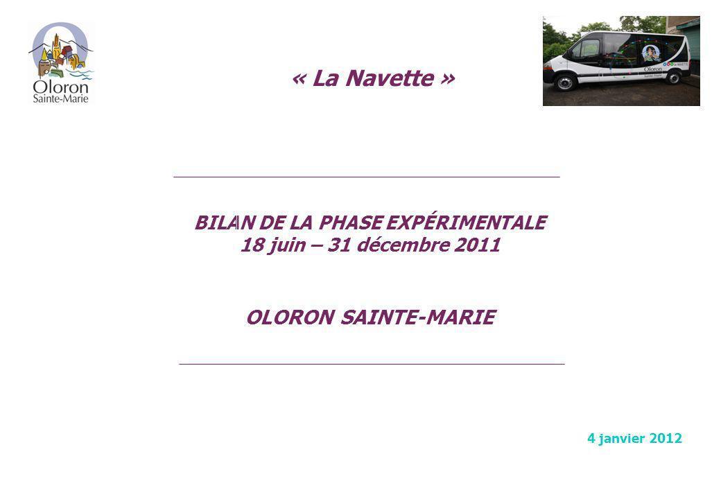 BILAN DE LA PHASE EXPÉRIMENTALE 18 juin – 31 décembre 2011 SOMMAIRE Préambule.