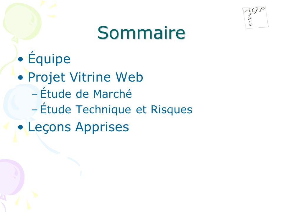 Sommaire Équipe Projet Vitrine Web –Étude de Marché –Étude Technique et Risques Leçons Apprises