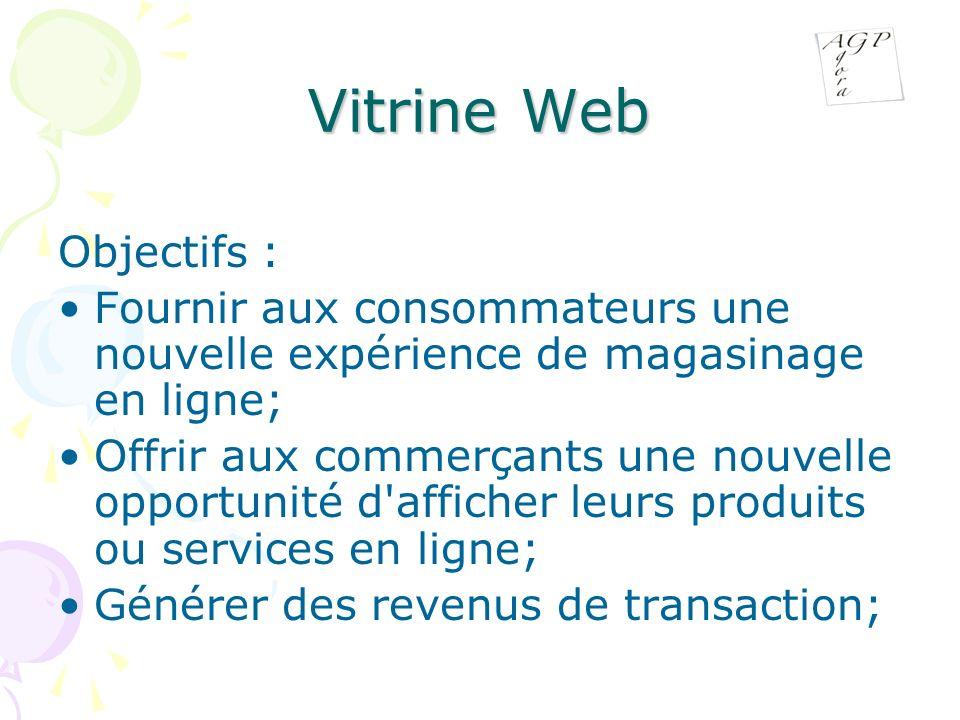 Vitrine Web Objectifs : Fournir aux consommateurs une nouvelle expérience de magasinage en ligne; Offrir aux commerçants une nouvelle opportunité d afficher leurs produits ou services en ligne; Générer des revenus de transaction;