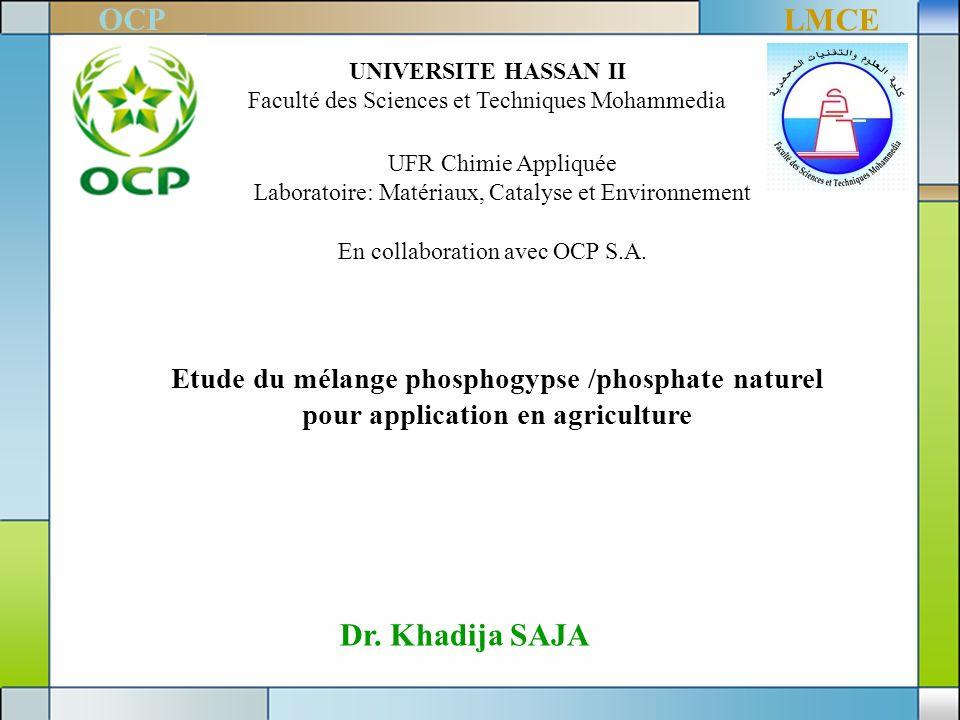 UNIVERSITE HASSAN II Faculté des Sciences et Techniques Mohammedia UFR Chimie Appliquée Laboratoire: Matériaux, Catalyse et Environnement Dr. Khadija