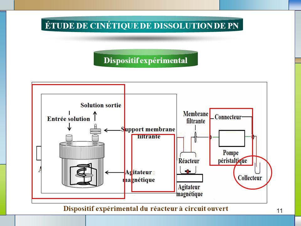 11 Dispositif expérimental du réacteur à circuit ouvert ÉTUDE DE CINÉTIQUE DE DISSOLUTION DE PN Dispositif expérimental