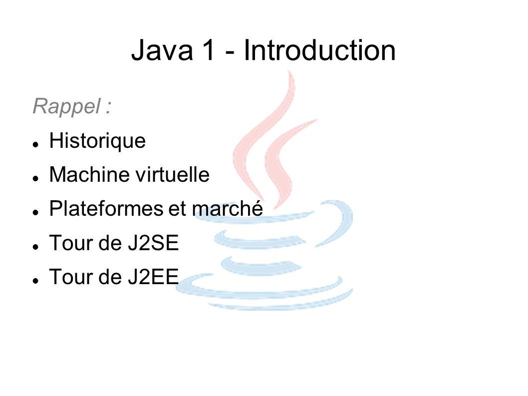 Java 1 - Introduction Rappel : Historique Machine virtuelle Plateformes et marché Tour de J2SE Tour de J2EE