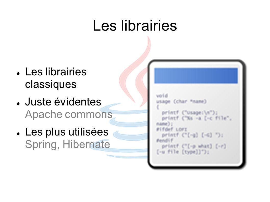 Les librairies Les librairies classiques Juste évidentes Apache commons Les plus utilisées Spring, Hibernate