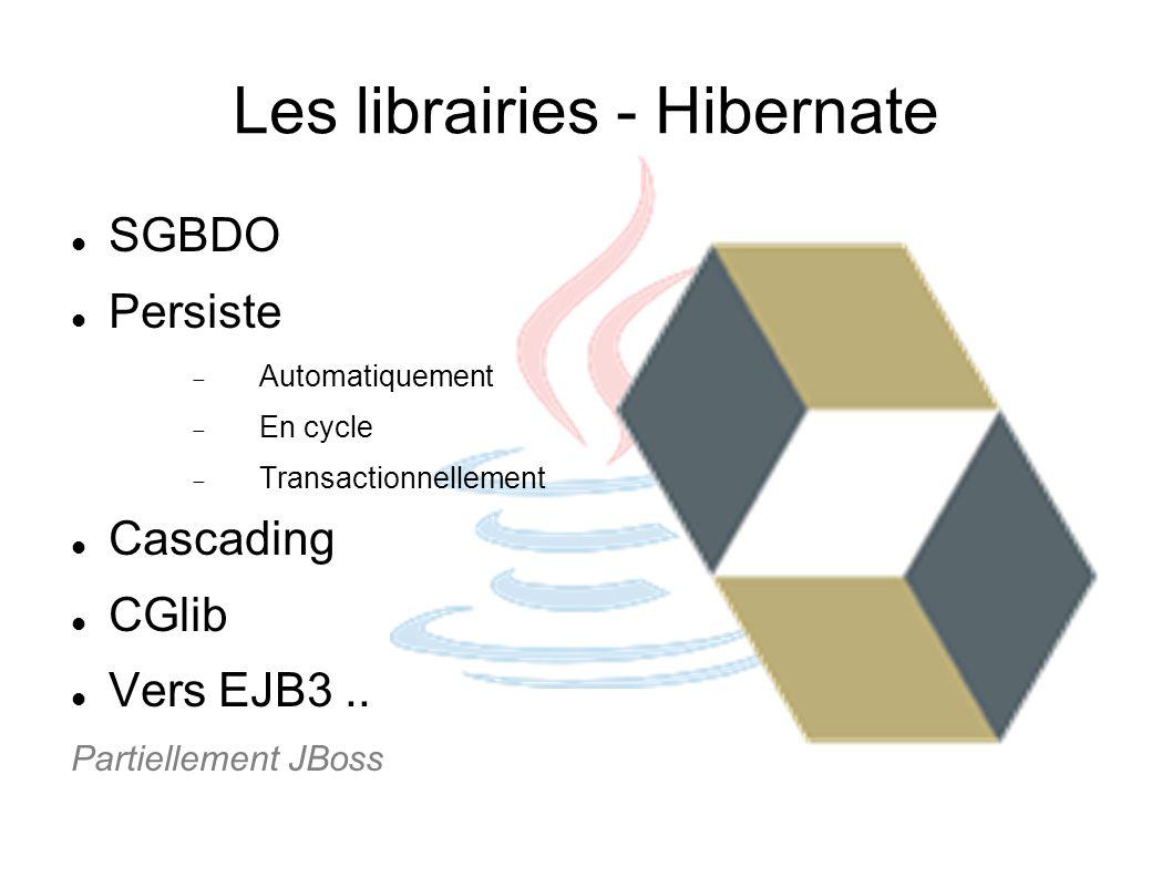 Les librairies - Hibernate SGBDO Persiste Automatiquement En cycle Transactionnellement Cascading CGlib Vers EJB3.. Partiellement JBoss