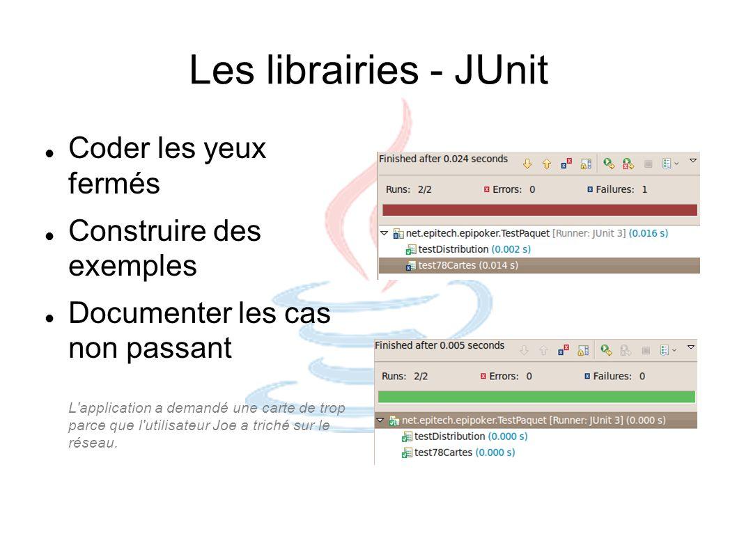 Les librairies - JUnit Coder les yeux fermés Construire des exemples Documenter les cas non passant L'application a demandé une carte de trop parce qu