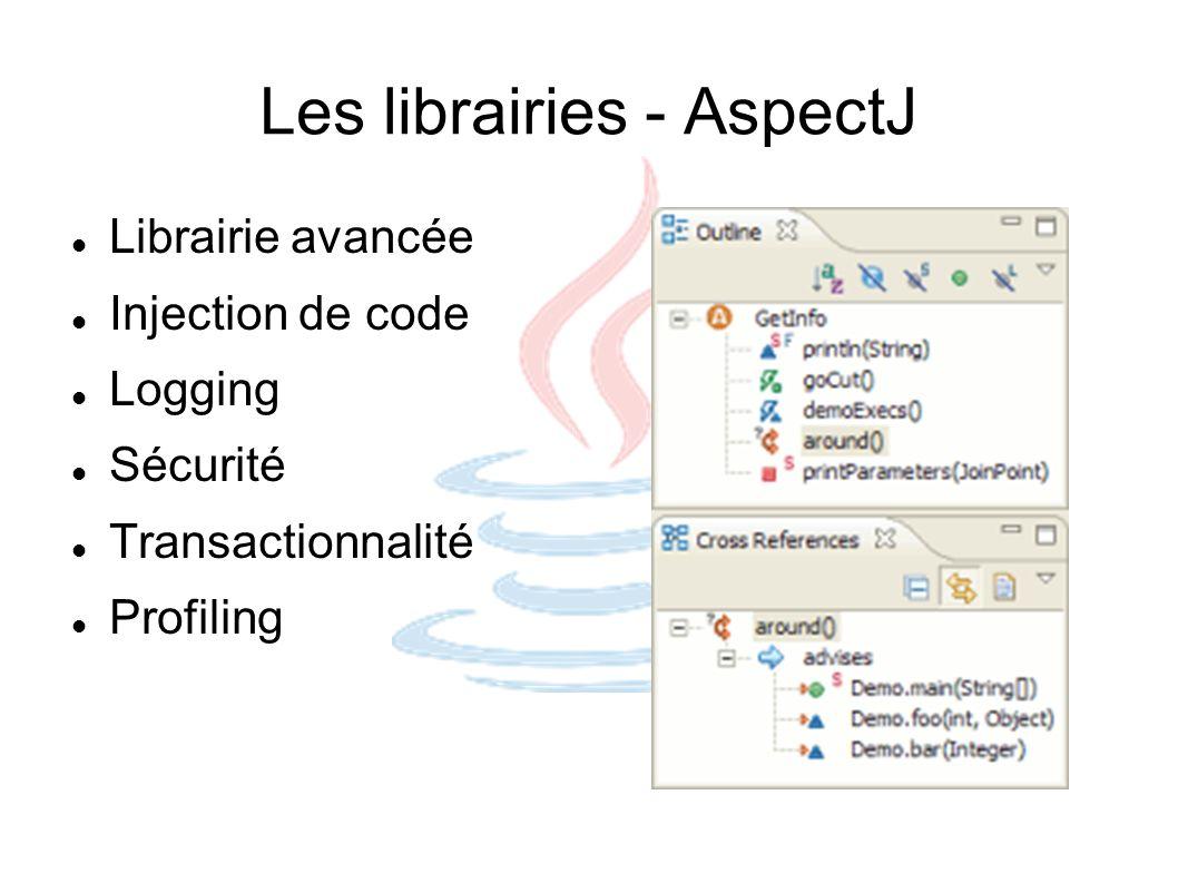 Les librairies - AspectJ Librairie avancée Injection de code Logging Sécurité Transactionnalité Profiling