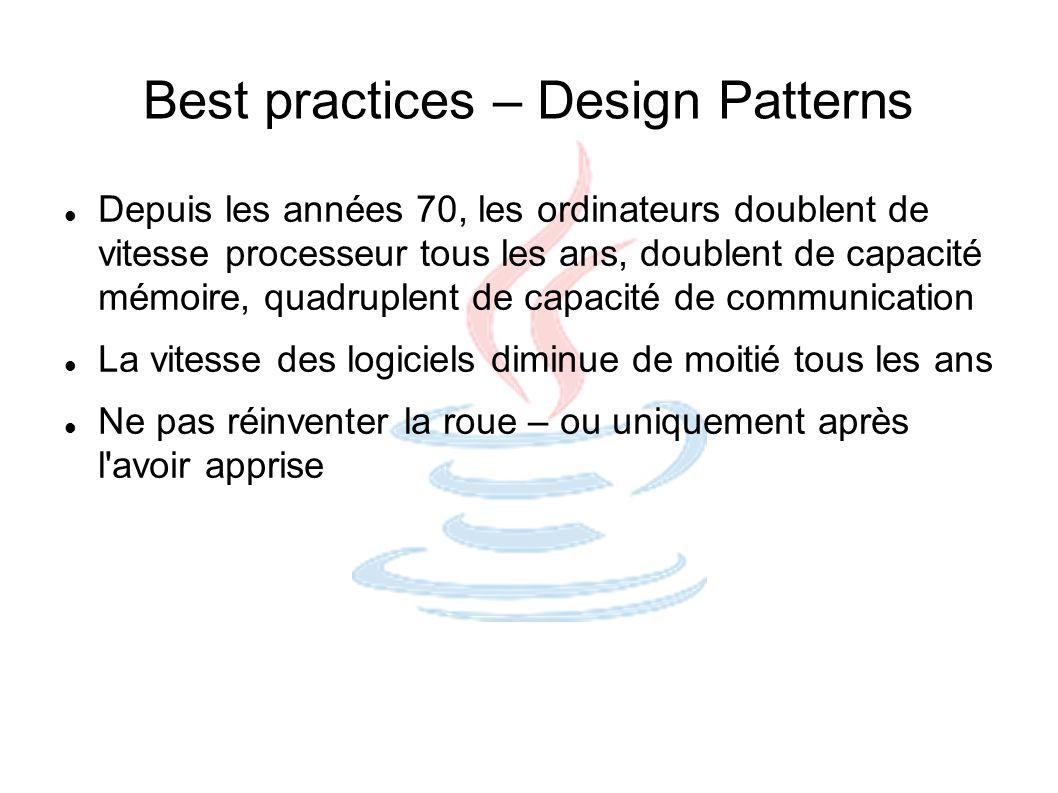 Best practices – Design Patterns Depuis les années 70, les ordinateurs doublent de vitesse processeur tous les ans, doublent de capacité mémoire, quad