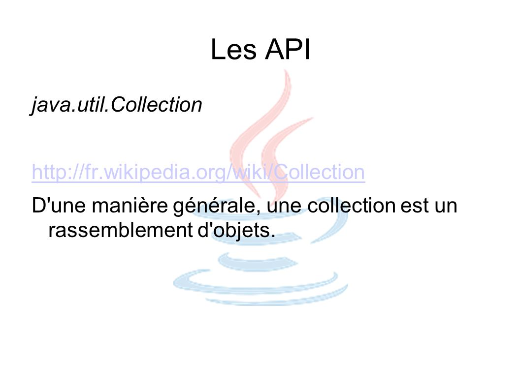 Les API java.sql.Connection http://download.oracle.com/javase/6/docs/api/java/sql/Connection.html Write once, run anywhere ^^ PreparedStatement statement = connection.prepareStatement( SELECT * FROM PERSON WHERE LASTVIEW < ? ); statement.setDate(1, yesterday); ResultSet result = statement.executeQuery();