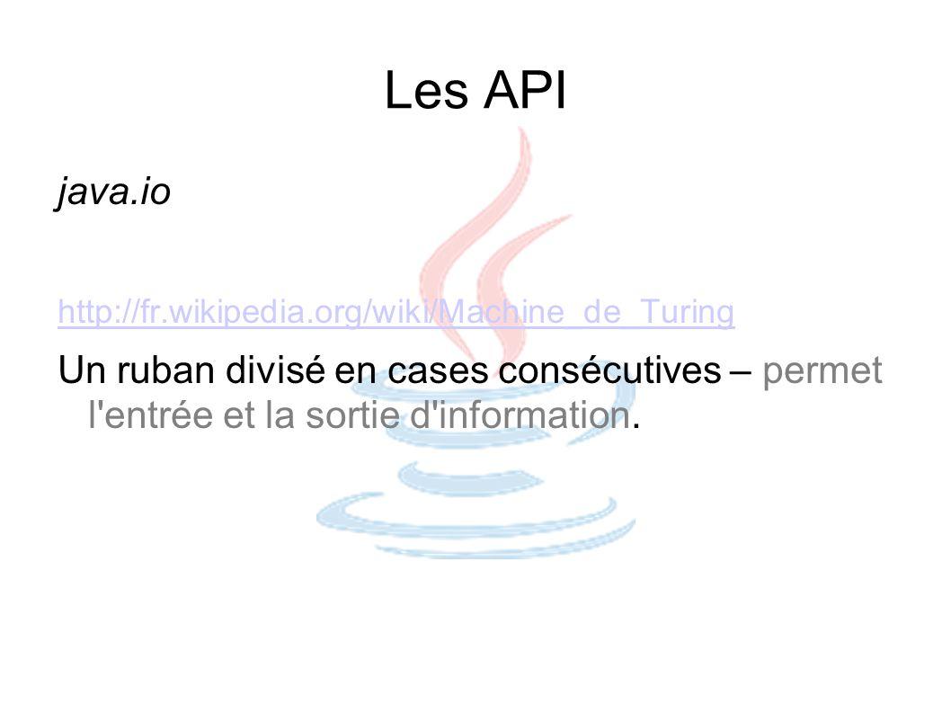 Les API java.io http://fr.wikipedia.org/wiki/Machine_de_Turing Un ruban divisé en cases consécutives – permet l'entrée et la sortie d'information.