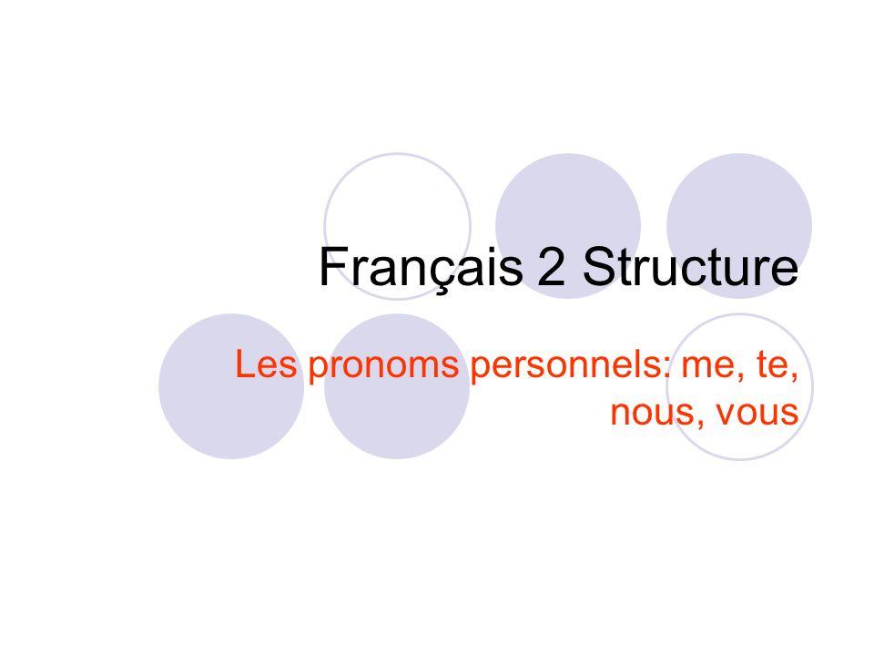 Français 2 Structure Les pronoms personnels: me, te, nous, vous