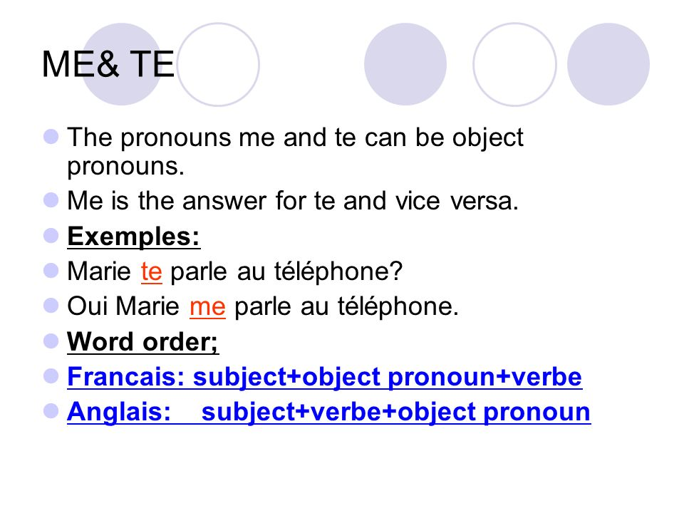 ME& TE The pronouns me and te can be object pronouns. Me is the answer for te and vice versa. Exemples: Marie te parle au téléphone? Oui Marie me parl